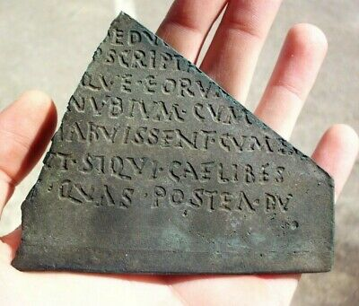 Ancient Roman Bronze Tablet Fragment With Inscription - 100/200 Ad