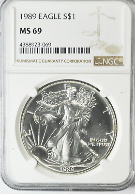 1989 $1 American Silver Eagle One Ounce Fine Dollar Coin Gem Unc NGC MS69