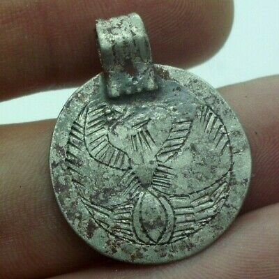 Ancient Celtic Silver Amulet Pendant With Stylized Bird - 200/100 Bc - Rare