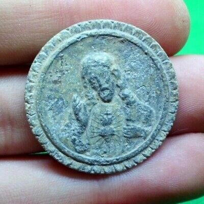 Post Medieval Christian Lead Medal With Jesus Christ The Savior - Beautiful