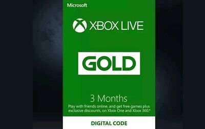 3 Month Xbox Live Gold Membership Microsoft Xbox 360/xbox One Same Day Delivery
