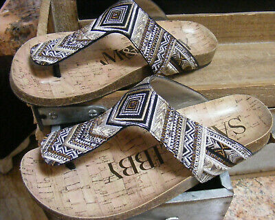 1893e3964cec SAM   LIBBY Womens 6 Thong Sandals Southwestern Black Brown Tribal  Embroidered
