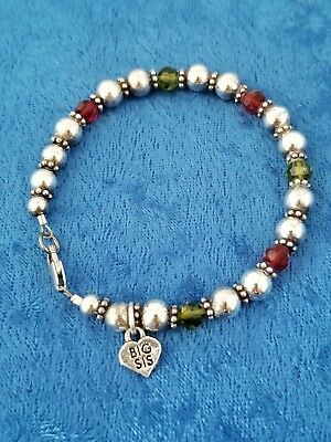 "Sterling Silver Red and Green Crystals With ""Big Sis"" Charm 8"" Bracelet"