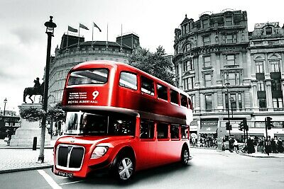 C097 Black and White London landscape red Bus framed canvas print xmas gift