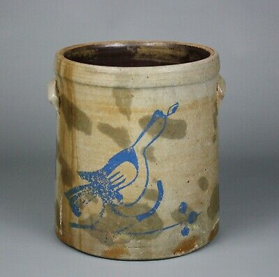 Antique Stoneware Crock, Blue Bird Motif, Three Gallon, Handles, 10 1/2""