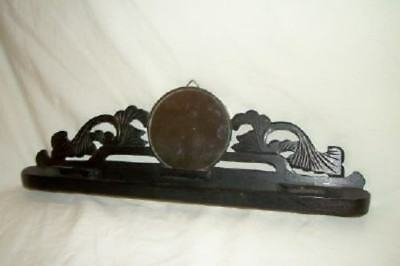 Antique Shaving Mirror Folding Carved Wood Chrome Towel Bar Train Travel Japan