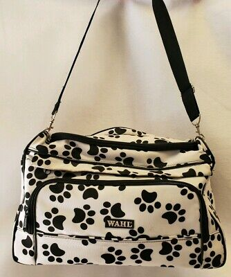 Wahl Paw Print Grooming Travel Professional Pocketed Hair Bag White With Black