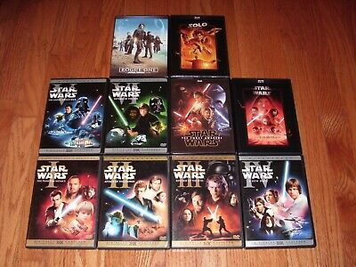 Complete Star Wars saga on DVD. All 10 movies! Episodes 1-8 + Rogue One & Solo.