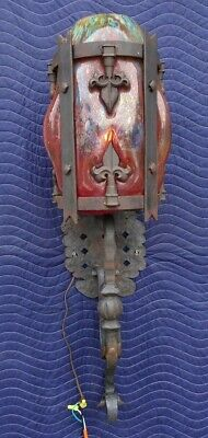 Wrought Iron Wall Sconce Caged Glass Gothic Spanish Revival Hammered #2