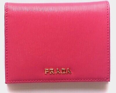 6197f344ad39 Prada Portafoglio Verticale Fuxia Geranio Vitello Move Leather Flap Wallet  1MV20