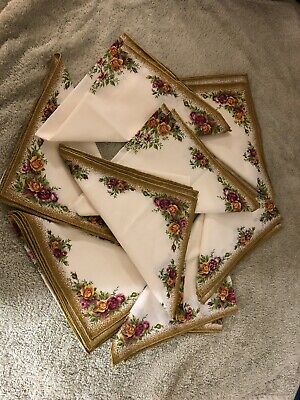ROYAL ALBERT OLD COUNTRY ROSE Ceramic COTTON POLYESTER NAPKINS X 8