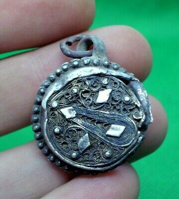 Ancient Roman Filigree Silver Pendant Amulet Decoration - 100 Ad