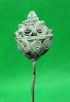ANCIENT CELTIC ROMAN HUGE SILVER HAIR PIN - 100 BC - 13 cm