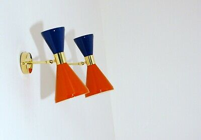 Applique Doppio Cono - 2 DIFFUSORI - Ottone - STILNOVO Style - ORANGE / BLUE