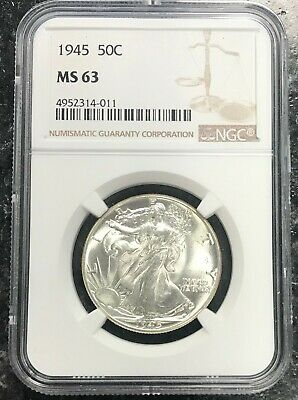 1945-P U.s. Silver Walking Liberty Half Dollar ~ Ngc Graded Ms63! Nr!