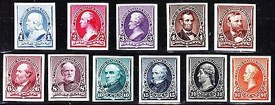 US 219P4-229P4 1890 Issue Proofs on Card VF-XF NH w/ Carmine 2c SCV $620 (001)