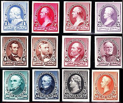 US 219P4-229P4 1890 Issue Proofs on Card w/ Both 2c VF-XF SCV $785 (002)