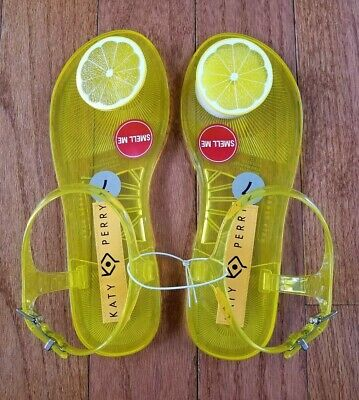 84bd82cc6cb9 Katy Perry The Geli Lemon Scented Yellow Jelly Flat Sandal Ankle Buckle Sz  7 Nwt