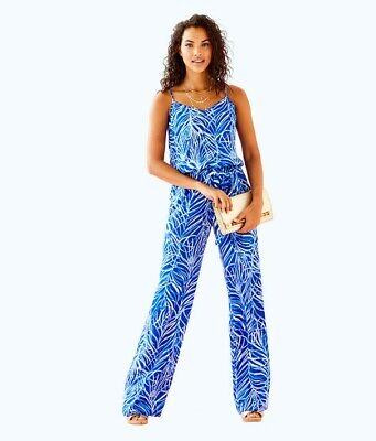 b9bde546203273 NWT Lilly Pulitzer Dusk Jumpsuit XL Twilight Blue Early Riser Brand New