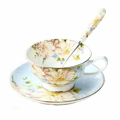Vintage Fine Bone China Tea Cup Spoon and Saucer Set Gold Trim Fine Dining and T