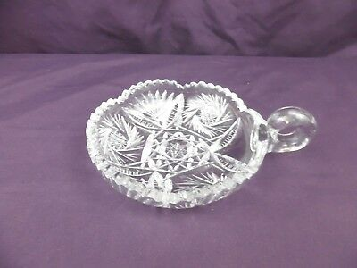 Vintage Crystal Cut Glass Candy/Nut Dish W/Loop Handle
