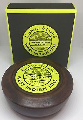 New Crabtree & Evelyn West Indian Lime Shave Soap in a Wooden Bowl 3.5oz