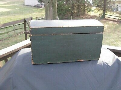 "SMALL ANTIQUE DOME TOP CHEST / Green Paint / Sq. Nails / 16"" L"
