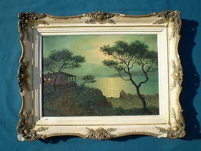 Orig. Painting English/Greek, Alex Brickman (1900-1954) Night Seascape Landscape