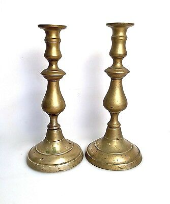 Pair Antique Early American Brass Candlesticks Push Up 12 Inches Tall FREE SHIP