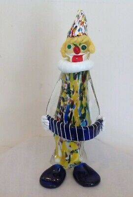 "Vintage Murano Italian Art Glass Clown Figure 12""T w/ Label Mid-Century Modern"