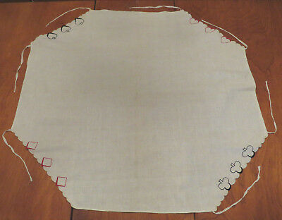 Vintage Embroidered Card Table Tablecloth, Decorated With Playing Cards Suits