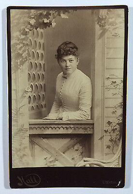 Antique Cabinet Card Photo Woman Sitting in Window Painted Scene Littleton