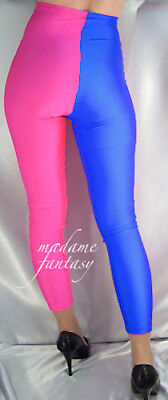 Two Tone High Waisted Shiny Spandex Leggings Neon Pink Royal Blue S M L Xl Xxl