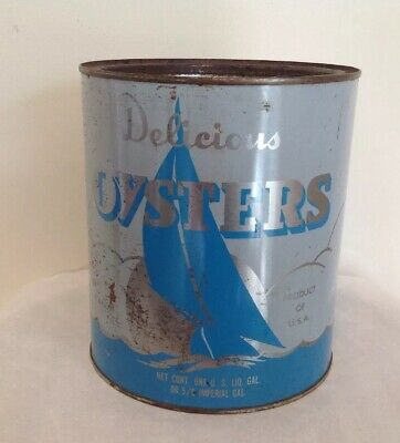 Vintage MARYLAND FISH & OYSTER Crisfield MD One Oyster Gallon Can MD482 Blue Tin