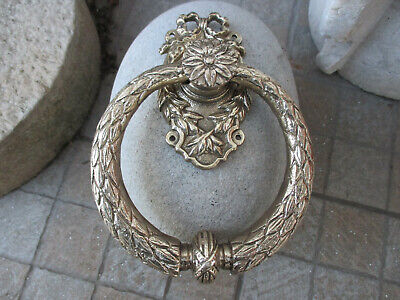 Architectural Salvage Vintage Solid Brass Door Knocker Ring Handle Old Hardware