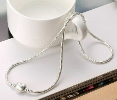 Silver Snake Chain Necklace Vintage Charm European Style Snake Chain Heart Clasp