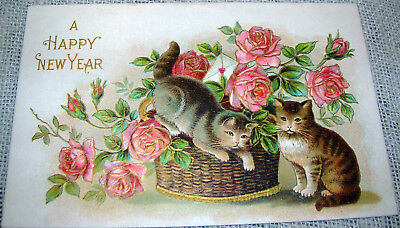 Vintage New Year's Day Postcard - Cats and Flowers