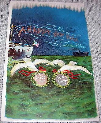 Vintage New Year's Day Postcard - Ships and Doves
