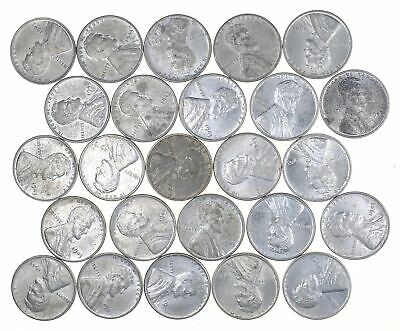1/2 Roll 1943 Lincoln Wheat STEEL Cent Beautiful Mostly BU Unc 25 Coins Lot *636