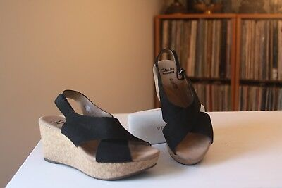 27ee1e8c1e34 Clarks Collection Stasha Hale Black Suede 3 Inch Wedge Slingback Sandals SZ  5.5