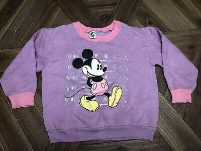 Vtg Mickey Mouse Sweater Walt Disney Youth 80s 90s Pink Purple USA Mickey & Co