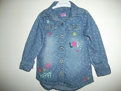 Girls Blue Long Sleeved, Embroidered,  Star Print Shirt Age 18-24 Months