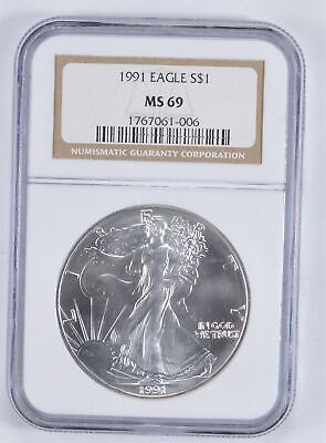 MS69 1991 American Silver Eagle - Graded NGC *895