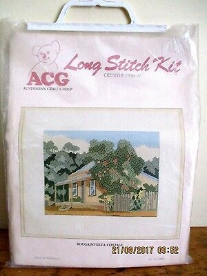 BNIP ACG (AUST CRAFT GROUP) LONGSTITCH KIT No. 1003-BOUGAINVILLEA COTTAGE-UNUSED
