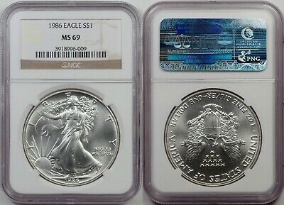 1986 Silver Eagle, NGC MS69,  First Year