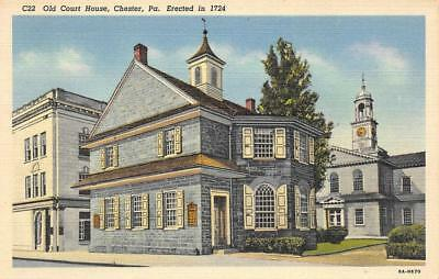 Old Court House, Chester, Pennsylvania ca 1940s Vintage Linen Postcard