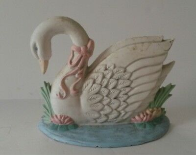 Vintage Cast Iron Swan Doorstop by Midwest Importers White & Pastel Colors