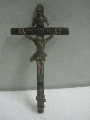 19th century Cross of Jesus Christ religious crucifix in bronze and wood