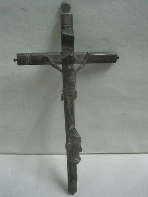 19th century Cross of Jesus Christ religious crucifix in bronze and exotic wood
