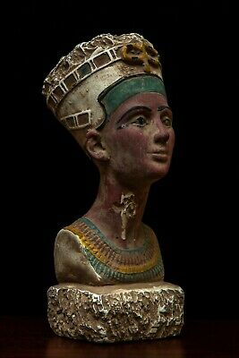 ANCIENT EGYPT EGYPTIAN Antique NEFERTITI QUEEN Pharaoh Beautiful STATUE STONE-BC